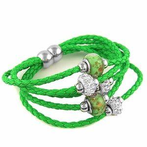 💚💚💚 Leather Murano Bead Bracelet 💚💚💚